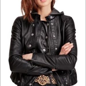 Free People Black Dawn Vegan Faux Leather Jacket